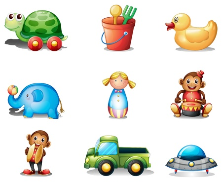 Illustration of a collection of the different toys on a white background Vector