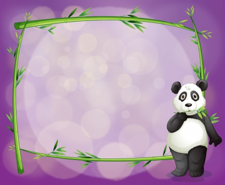 Illustration of an empty frame with a panda on a purple background Vector