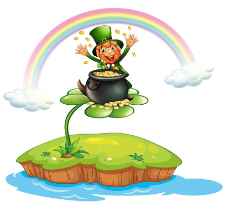 Illustration of a man above a clover plant with a pot of coins Illustration