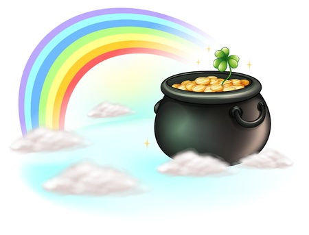 feast of saint patrick: Illustration of the golden coins and the rainbow on a white background Illustration