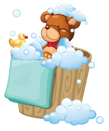 cartoon bathing: Illustration of a bear taking a bath on a white background
