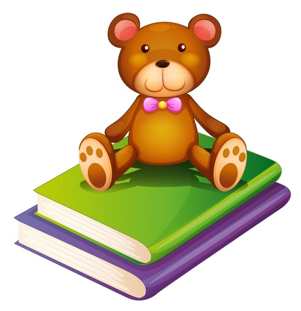stuff toys: Illustration of a bear above the pile of books on a white background Illustration