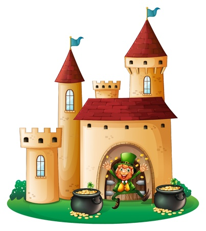 Illustration of a man in front of a castle with two pots of gold on a white background Stock Vector - 18459401