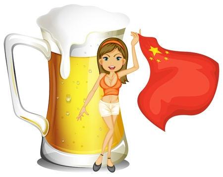 Illustration of a girl with the flag of China in front of a big mug of beer on a white background Vector