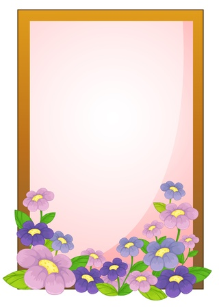 flower border pink: Illustration of an empty frame with flowers on a white background Illustration