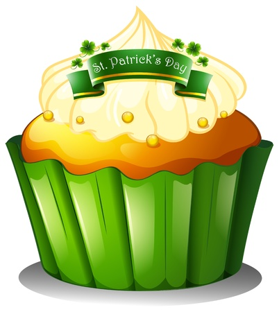 patron saint of ireland: Illustration of the cupcake for the celebration of St. Patricks day on a white background