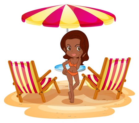 Illustration of a tan lady at the beach near the beach umbrella and chairs on a white background Illustration