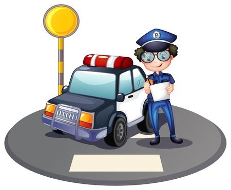 servicios publicos: Ilustración de un policía al lado de su coche patrulla sobre un fondo blanco