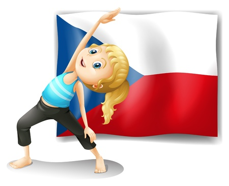 czech women: Illustration of the Czech Republic flag with a girl on a white background