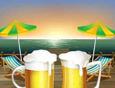 sea bed: Illustration of the mugs of cold beer at the beach