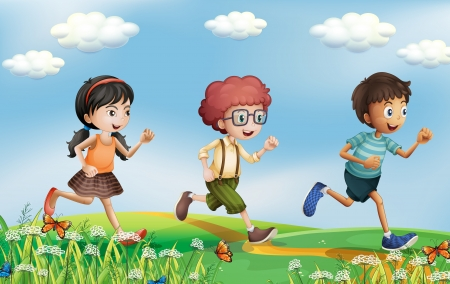 Illustration of the kids running at the hills