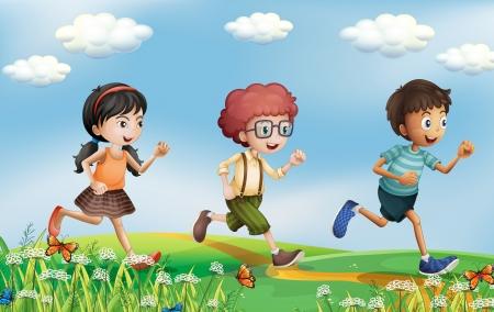 niño corriendo: Ilustración de los niños corriendo por los cerros
