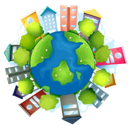 natural resource: Illustration of the earth with the man-made buildings and the natural resources on a white background