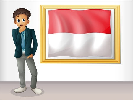 indonesian flag: Illustration of a boy with the framed flag of Indonesia on a white background