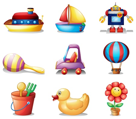 toy boat: Illustration of the different kinds of toys on a white background