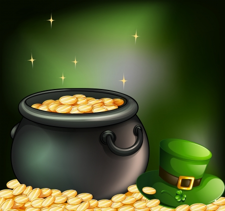 green tophat: Illustration of the gold coins inside a pot and a green hat