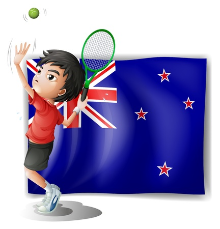 Illustration of a young tennis player in front of the New Zealand flag on a white background
