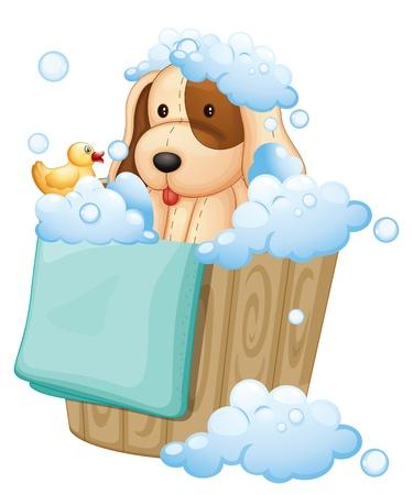 burbujas jabon: Ilustración de un perro en el interior de una cubeta llena de burbujas en un fondo blanco