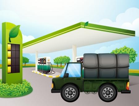bomba de gasolina: Ilustración de un camión cerca de la estación de gasolina Vectores