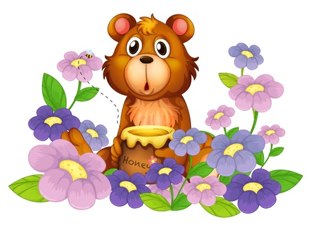 Illustration of a bear holding a honey in the flower garden on a white background