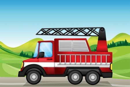 camion pompier: Illustration du camion utilitaire sur la route pr�s des collines