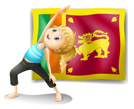 srilanka: Illustration of a girl in front of the flag of Sri Lanka on a white background