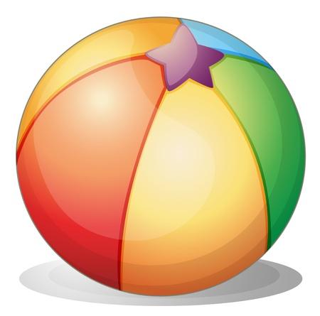 pelota caricatura: Ilustración de una pelota de playa en un fondo blanco Vectores