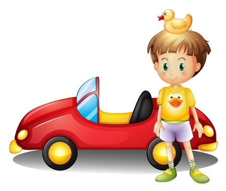 Illustration of a young boy with a rubber duck and a big toy car on a white background Vector