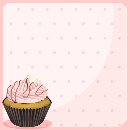 Illustration of a polka dot stationery with a cupcake Vector