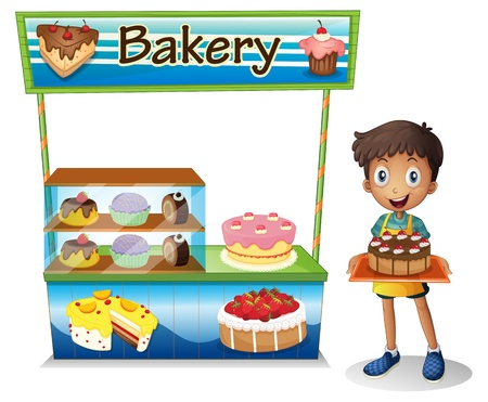 stall: Illustration of a boy selling cakes on a white background