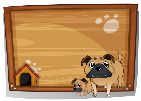 kennel: Illustration of the two bulldogs beside a wooden board on a white background