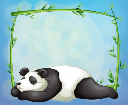 Illustrtaion of a sleeping panda and the empty frame made of bamboo Vector