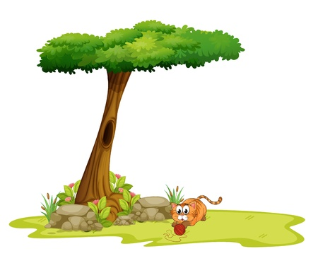 pic: Illustration of a cat playing under the tree on a white background