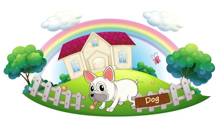 Illustration of a dog guarding a house on a white background Vector