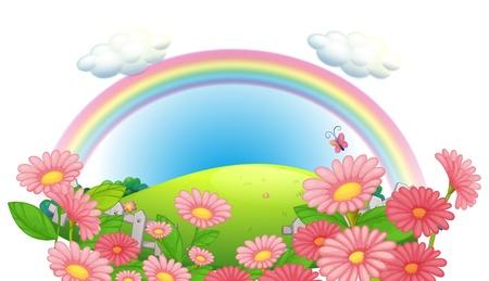 Illustration d'un arc et d'un jardin de fleurs sur les collines sur un fond blanc Vecteurs