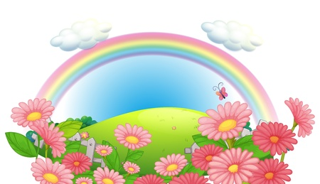 pink hills: Illustration of a rainbow and a garden of flowers at the hills on a white background