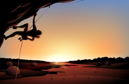 Illustration of the sunset view of the desert with a man climbing at the tree Vector