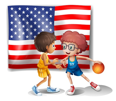 Illustration of the USA flag and the two basketball players on a white background Stock Vector - 18549619