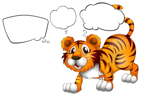 Illustration of the empty callouts with a scary tiger on a white background Vector