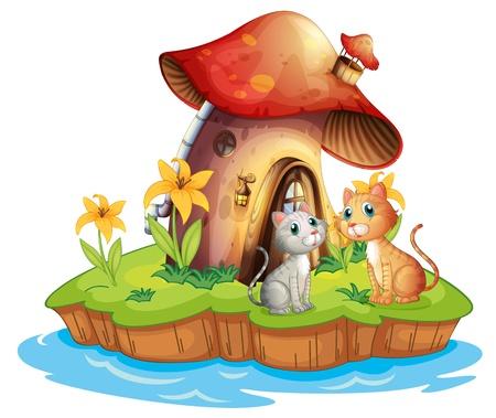 흰색 배경에 고양이 두 마리와 버섯 집의 그림