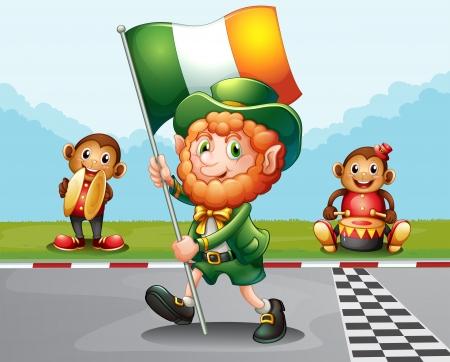 patron saint of ireland: Illustration of a man walking at the road holding the flag of Ireland Illustration
