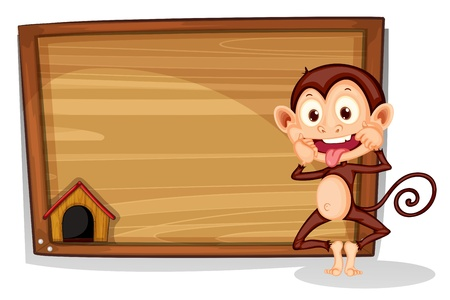 animal frame: Illustration of a monkey beside an empty board on a white background