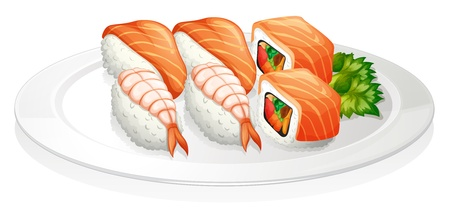 melaware: Illustration of a plate full of sushi on a white background Illustration