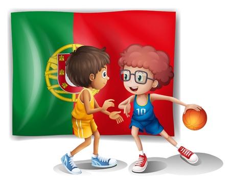 drapeau portugal: Illustration du drapeau du Portugal et les joueurs de basket-ball sur un fond blanc Illustration