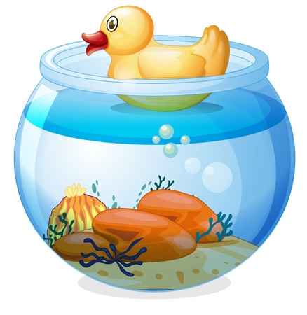 Illustration of an aquarium with a rubber duck on a white background Vector