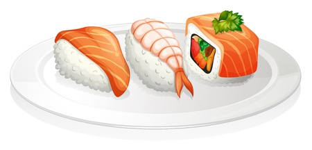 melaware: Illustration of a plate of sushi on a white background Illustration
