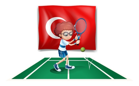 Illustration of a boy playing tennis in front of the flag of Turkey on a white background Stock Vector - 18549534