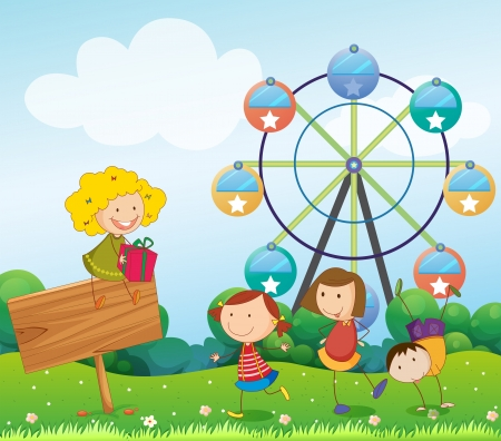 amusement park ride: Illustration of an empty signboard with kids near a ferris wheel Illustration