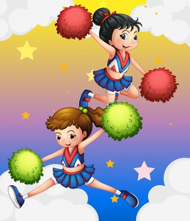 cheer up: Illustration of the two cheerdancers