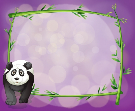 Illustration of a big panda beside an empty bamboo frame Vector